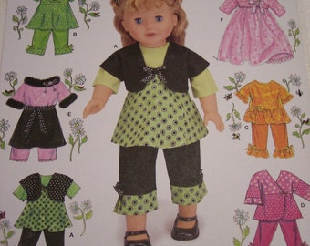 American Girl Trendy Clothes Pattern, Simplicity 2458, 18 Inch Doll Wardrobe, AG Doll Outfits Pattern, Doll Dress Pattern