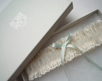 a l i c e  ivory lace garter with silk something blue garter lace and silk garter bridal shower gift bridal lingerie