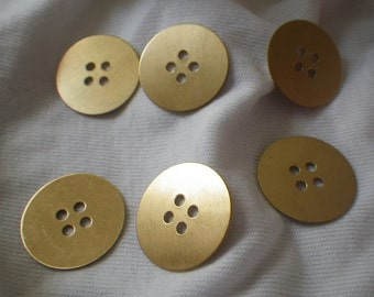 Brass Button Charms 19mm 6