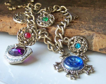 1/2 OFF REDUCED Vintage Colorful Brass and Plastic Faux Gemstone Charm Bracelet, Charm Bracelet, Purple Bracelet, Blue Bracelet, Etsy