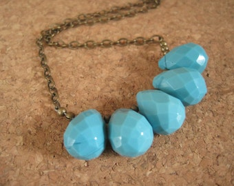 Sale - Turquoise Teardrop Necklace Robins Egg Blue - Brass Antique Look Chain - Boho Funky Jewels - Women's Bohemian Jewelry - Bridesmaids