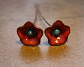 Enamel Beads - SueBeads - Red Orchid and Blue Floral Headpins - Enamel and copper Headpins