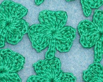 50 green thread crochet applique shamrocks --  1701