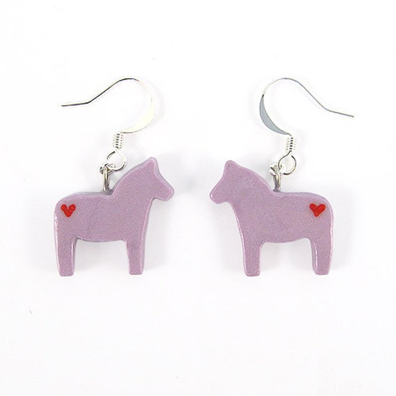 Purple Lilac Dala Horse Earrings with Hearts