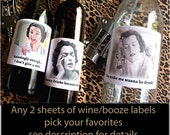 Any 2 sheets Funny Party Decor Wine/Booze Labels- choose your favorites
