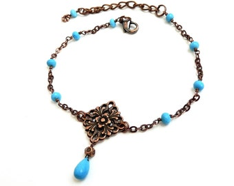 Turquoise, Copper Anklet, Handmade Jewelry