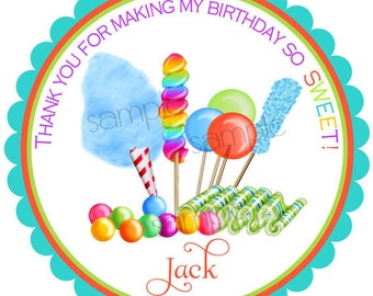 Boys Candy Stickers, Candy Circus,BOYS,Sweet shop, Birthday party, Candy, Lollipop, Gumballs,Birthday, Children, Labels, favor,