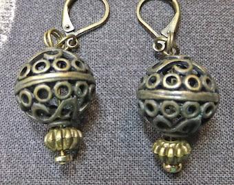 Brass Openwork Beads Steampunk Hot Air Balloon Dangle Earrings