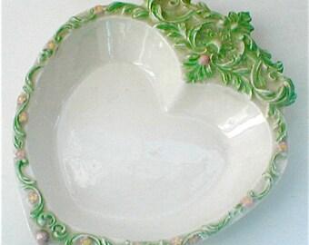 Big Fancy Heart Dish - Ceramic Vintage Hand Made - 1977