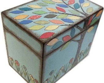 Keepsake Trinket Treasure Decorative Decoupaged Box, Hancrafted Wood Box - Colorful Tree, Gift for Baby - Child Storage MADE TO ORDER