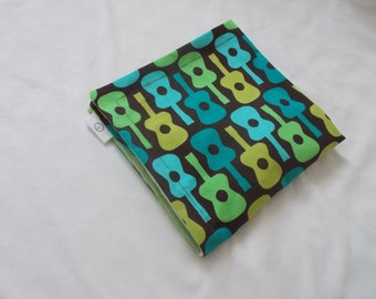 Lime Groovy Guitars and Minky Security Blanket Lovey