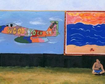 Woodstock '99 landscape scene art wall music Original Framed
