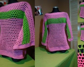 Crochet Pullover - AKA Sorority Colors - Sorority Pride