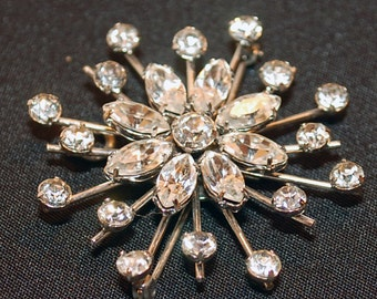 mid century vintage asterisk aster flower star rhinestone pin brooch pendant combo silver toned metal