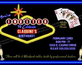 Personalized Casino Party invitation Digital Design