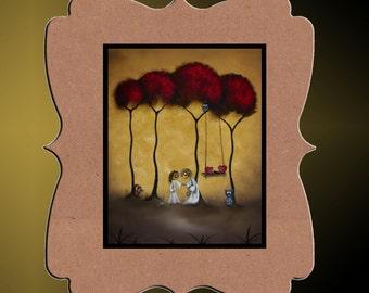 Whimsical Creeper Folk Art Print --Two Hearts--  Art  Print Giclee -  8 x 10 Inch