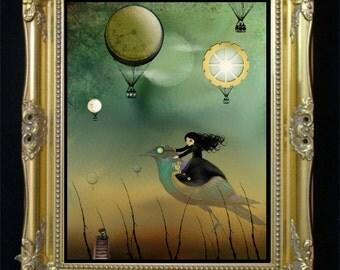 Surreal Steampunk Art - Steampunk Girl - Steampunk Bird -  Hot Air Balloons -- Steampunk Flight