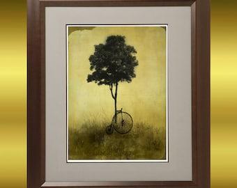 Vintage Style Landscape Tree and Bike Art Print -- RESTING  -- 8x10