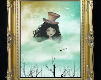 Surreal Art Digital Painting -- Head in The Clouds --  Head -- Hat -- Dragonflies
