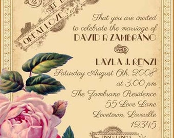 Evangeline - Vintage Victorian French Rose and Antique Typography - Printable DIY Wedding Invitation Suite - Customized Wedding Invitation