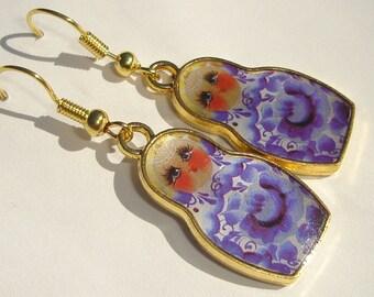 Matryoshka Metal Double Sided Russian Nesting Doll hand made pierced dangle charm earrings