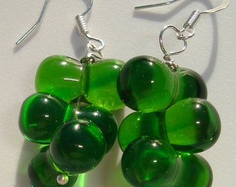 green glass peanut stack pierced dangle hand made wire wrapped earrings Happy St. Patrick's Day