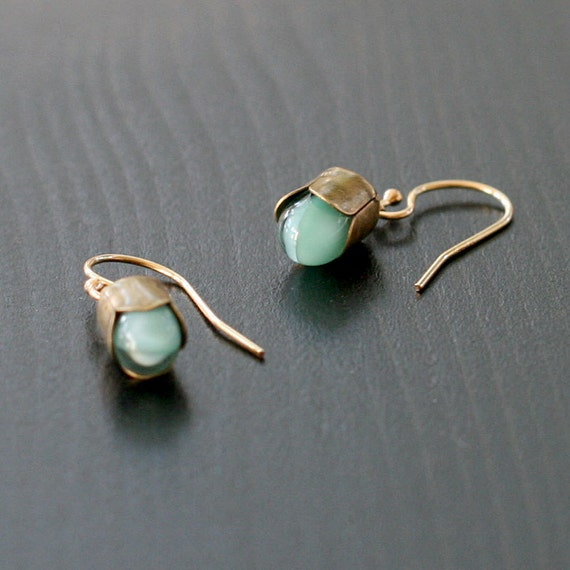 alain in blue - gold and bronze earrings by elephantine