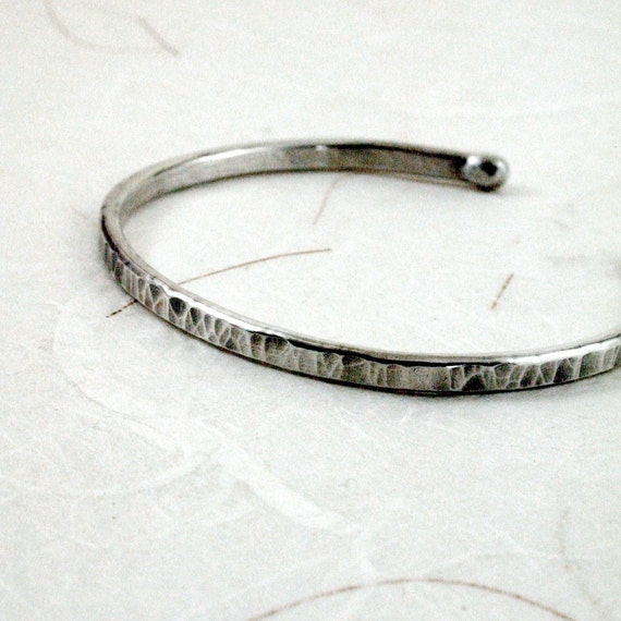 Sterling Silver Cuff bracelet, Hammered, narrow, stackable