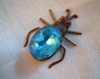 Jeweled Beetle Bug Vintage Blue Topaz Glass Finding