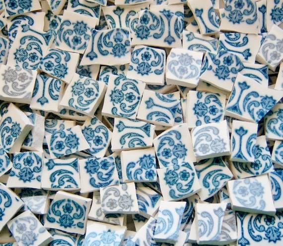 Mosaic Tiles--VINTAGE BLUE ---100 Tiles