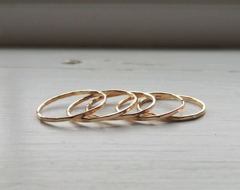Gold Stackable Midi Ring Set - Set of thin gold filled ring bands