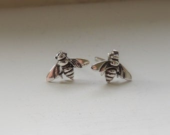 Silver Bee Earrings - Bee Jewelry Nature Inspired - Insect Jewelry - Stud Earrings