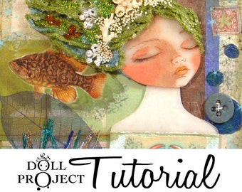 Collage Doll PDF Tutorial - Dimensional Collage Doll Workshop - How to create ooak art doll for your wall Blue Green Mermaid