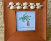 Wood Picture Frame, Seashell Embellished, Wood Frame, 2 1/2 inch photo
