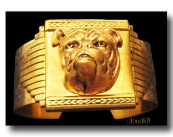 BULLDOG BRACELET CUFF Bracelet. Vintage Style English Bulldog Jewelry. 3D Bulldog. Old English Bull Dogge