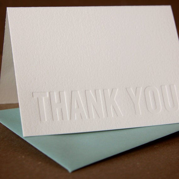 Letterpress Thank You Cards : Impression (No Ink) Modern Block Thank You Notes - box of 25 small folded cards w envelope color choice
