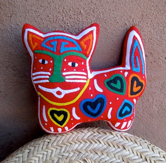 Hand Stitched Happy Hearts Mola Cat -  Stellar Kuna Indian Reverse Applique