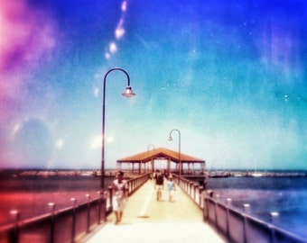 Pier Photography 5x5 Redcliffe Jetty Photo, Pier Art Print, Nautical Photograph, Jetty Picture, Summer at the Beach Home Decor