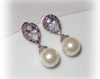 Teardrop CZ Pearl Earrings Cubic Zirconia Wedding Bridal Jewelry Bridesmaid Earrings Swarovski Pearls