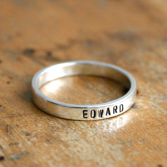 Personalized ring. Sterling silver hand stamped ring - stacking name ring