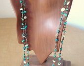 turquoise, calcite and metallic bead wrappable 45 inch necklace - made to order