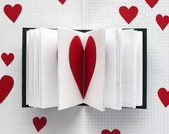 "XOXO - Secret Heart Mini Journal - 3.5 x 4.5"" - Mixed Paper Journal - Valentine's Day"