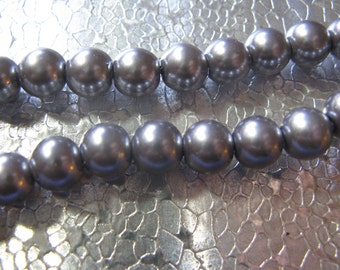 Glass Pearl Bead 8mm Silver Color Slight Pink Tint  50 Beads