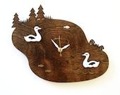 Lake Swans Wall Clock