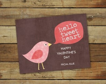 Printable Valentine card, hello tweet heart, editable pdf - instant download