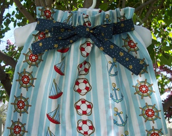 My Carrie Custom Sailboat Paper Bag Style Skirt with Tie Belt