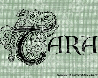 Digital Download Celtic Illumination Letter T, Customize the Name or get th