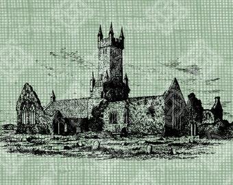 Digital Download Ennis Abbey County Clare Ireland Antique Illustration, Vintage drawing, Irish churchyard, digi stamp, digis Medieval Ruins