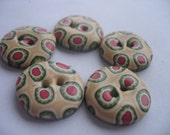 5 Handmade polymer clay buttons in a calm design pink, green and ecru