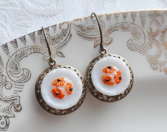 Sunflower Orange, Vintage Glass Button Earrings